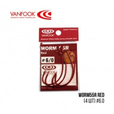 Крючки Vanfook офсетные WORM55R Red